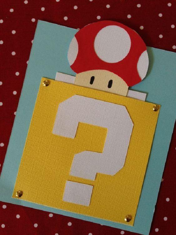 Children's birthday invitation with mario