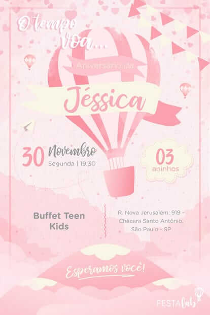 Pink balloon virtual children's birthday invitation