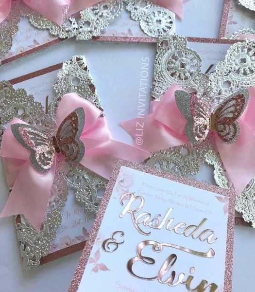 Pink and gold children's birthday invitation