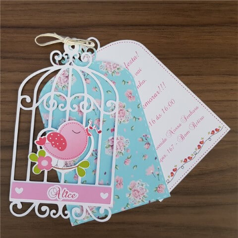 Enchanted garden invitation with blue packaging
