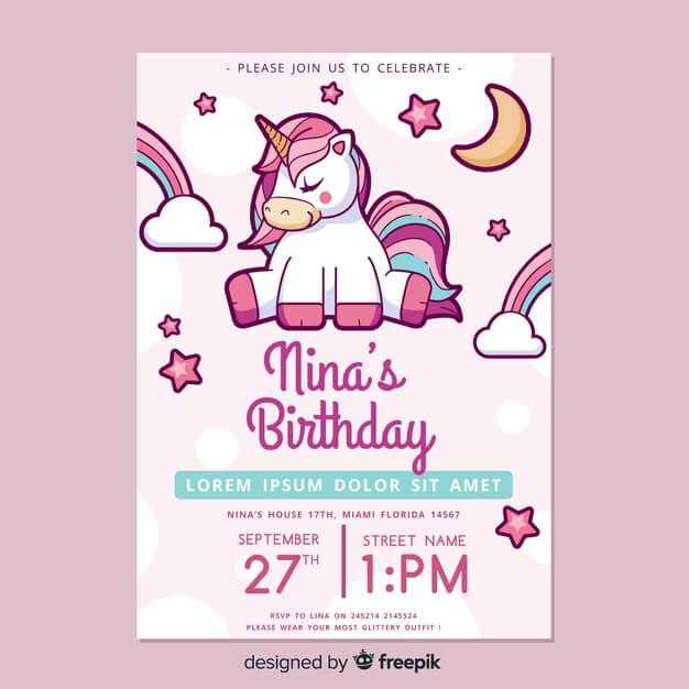 Unicorns' Birthday Invitation