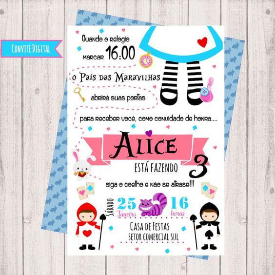 Alice in Wonderland Digital Children's Birthday Invitation