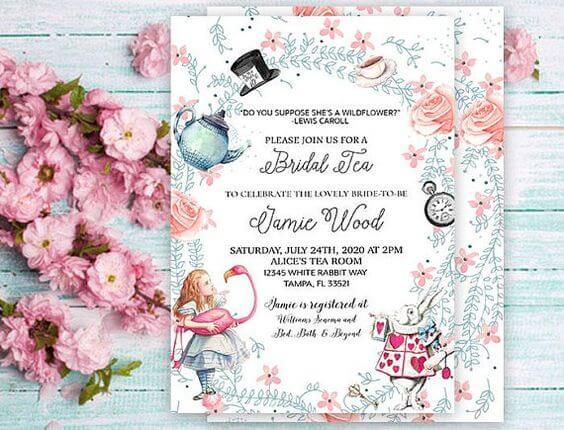 Alice's children's birthday invitation in wonderland
