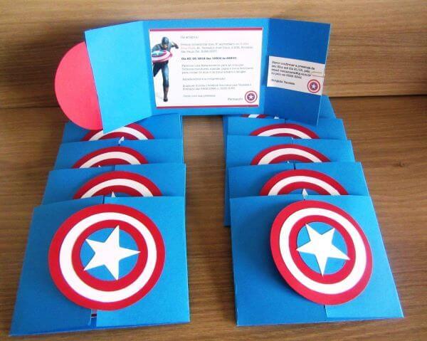 Children's Birthday Invitation Captain america