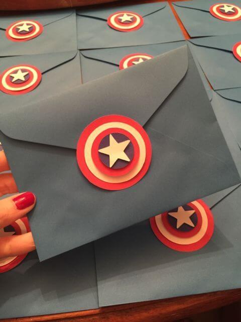 Captain America's Children's Birthday Invitation Envelope