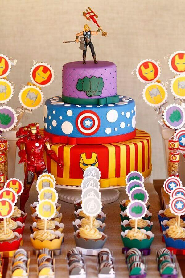 cake 3 floors for avengers party Photo My Party