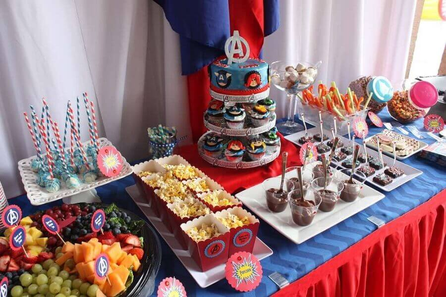 decorated table for simple avengers party Photo Catch My Party
