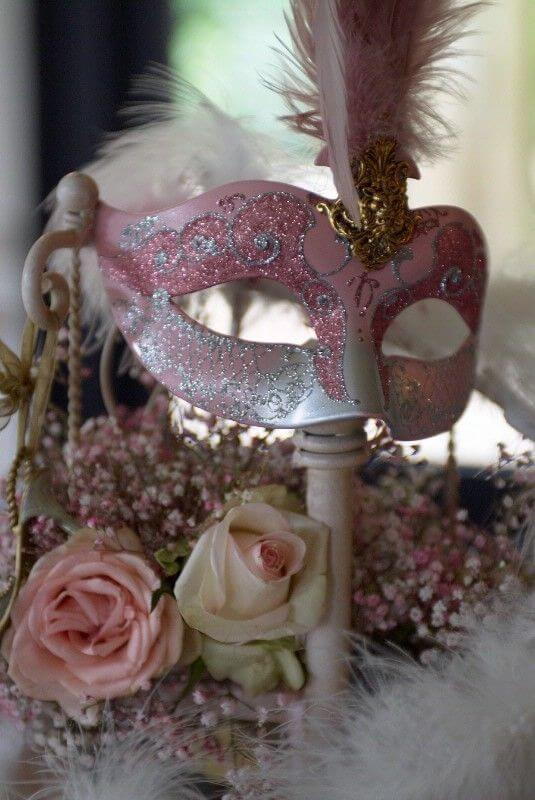 Pink mask in the party decoration