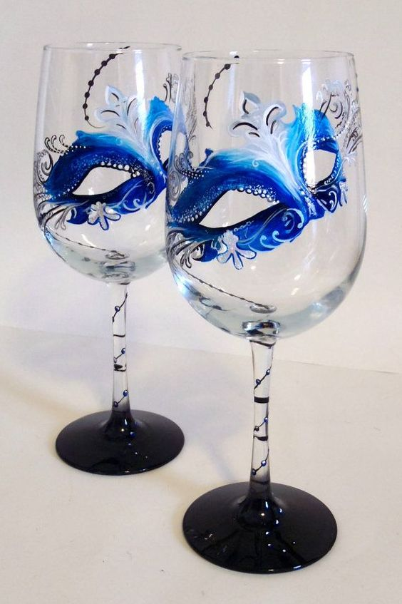 Personalized cup with beautiful blue masks