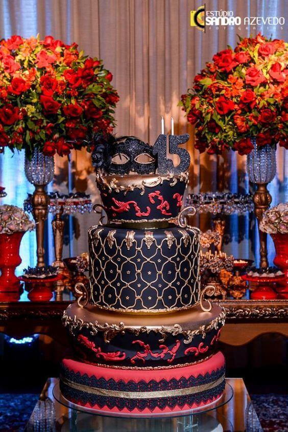 Black and red masquerade cake