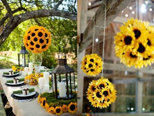 Creative and cheap ideas for sunflower theme party decoration