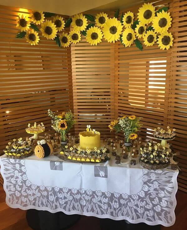 Sunflower theme party decoration made with cardboard