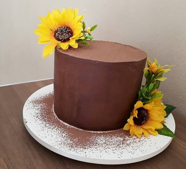 Chocolate ganache cake with flowers for sunflower theme party