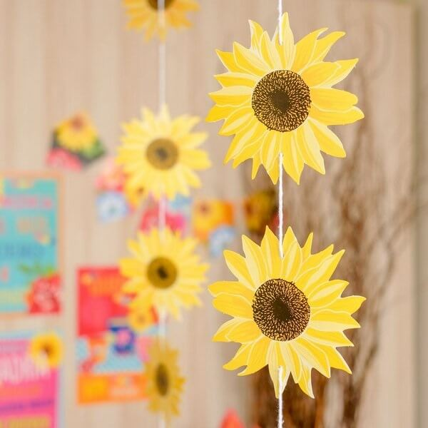 Decorative curtain for simple sunflower party theme