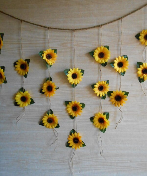 Simple curtain made with paper sunflower flowers