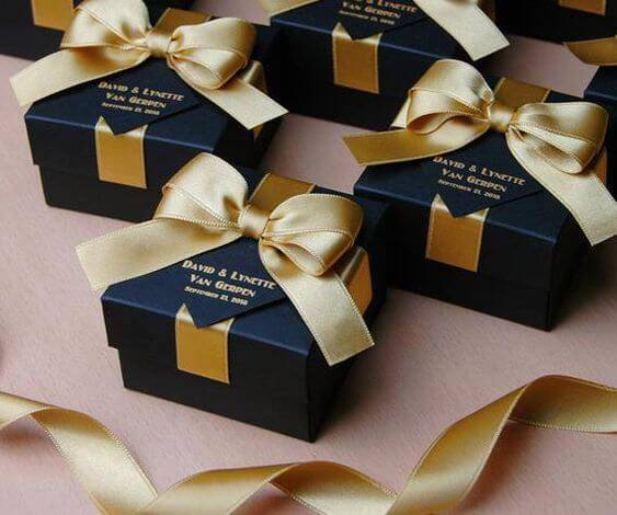 Black wedding gift box with gold ribbon