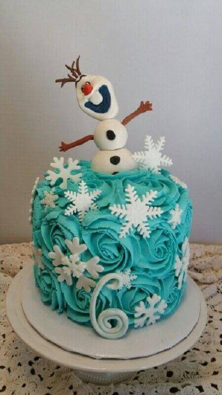 frozen whipped cream cake with olaf on top Photo Pinterest