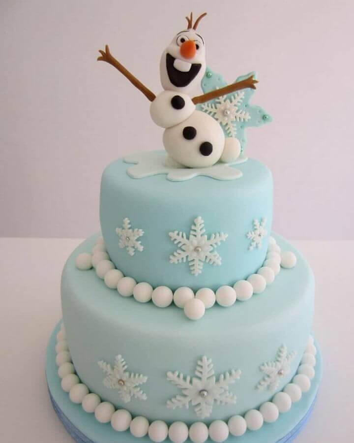 frozen cake decorated with american paste with olaf on top Photo My Social Mate