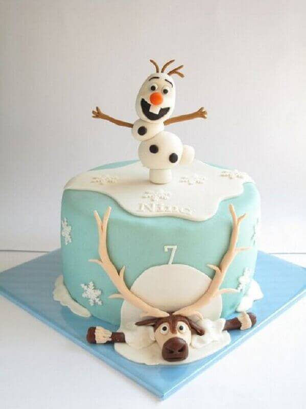 simple frozen cake decorated with american paste Foto Pinterest