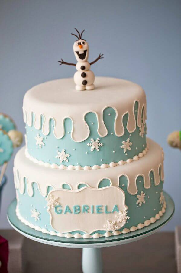olaf as top of frozen Foto Festas.Biz cake
