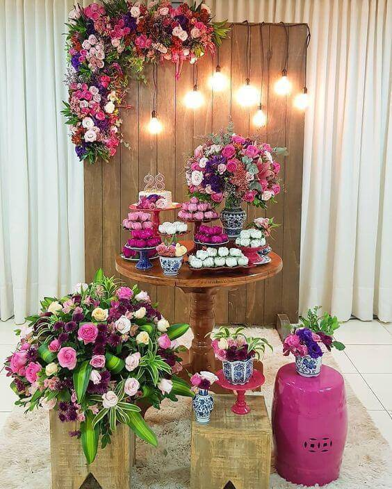 Party at home with pink and purple flowers