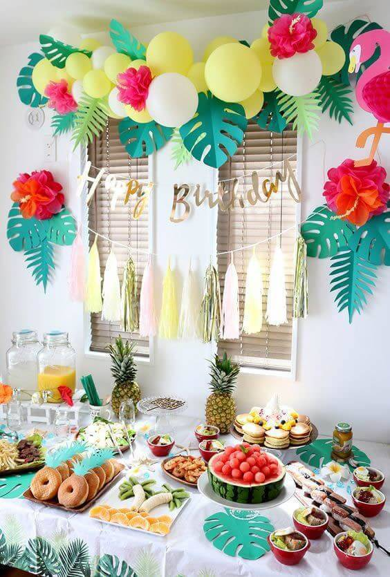 Party at home with a tropical theme
