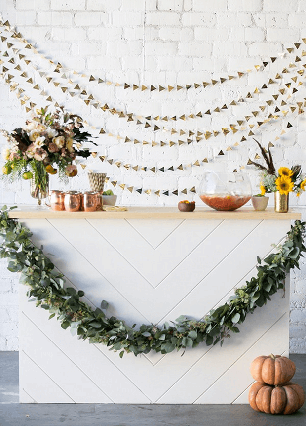 Party at home with minimalist decoration