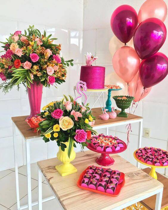 Party at home with metallic balloons