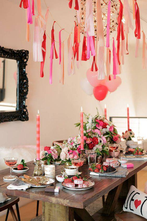 Party at home with decorated dining table