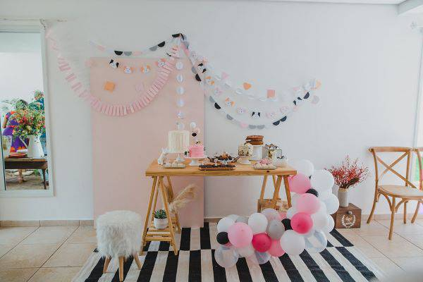 Children's party at home decorated with balloons