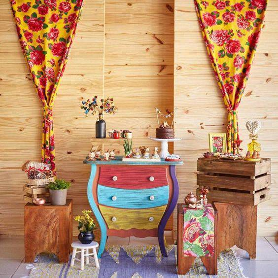 Junine party at home with colorful decoration