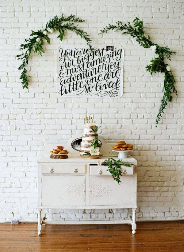 Party at home with plants in the decoration