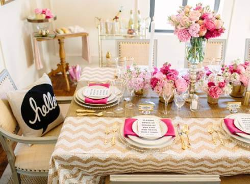 Party at home with pink and gold decoration