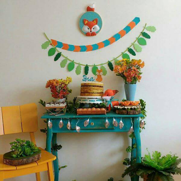Party at home with blue and orange