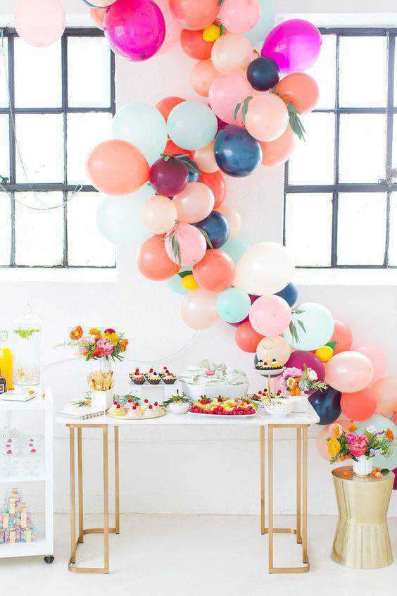 Party at home with colorful balloons
