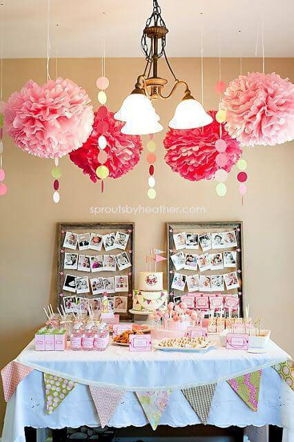 Party at home with pink aerial decoration