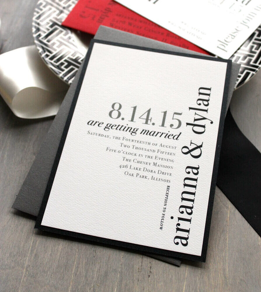 simple and modern wedding invitation made in shades of grey and white