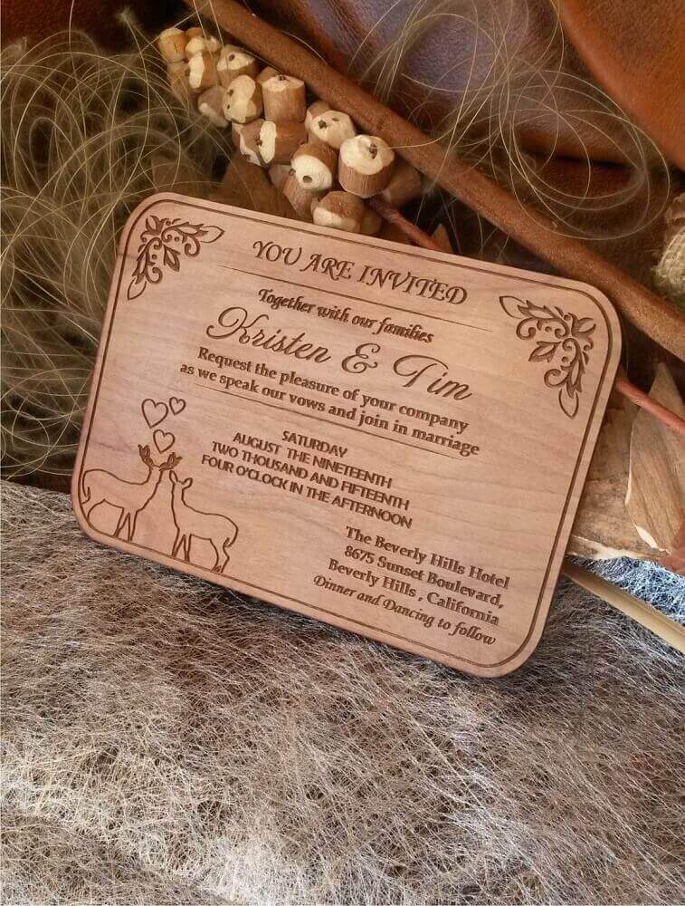 simple invitation model made in wood