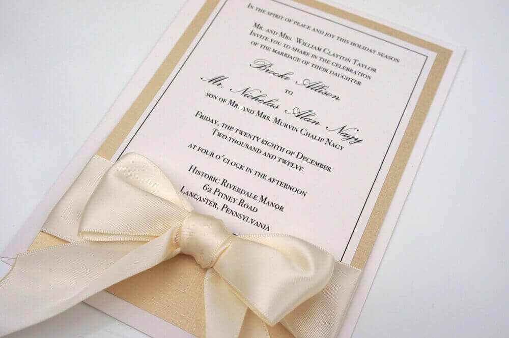 simple wedding invitation with beige satin ribbon