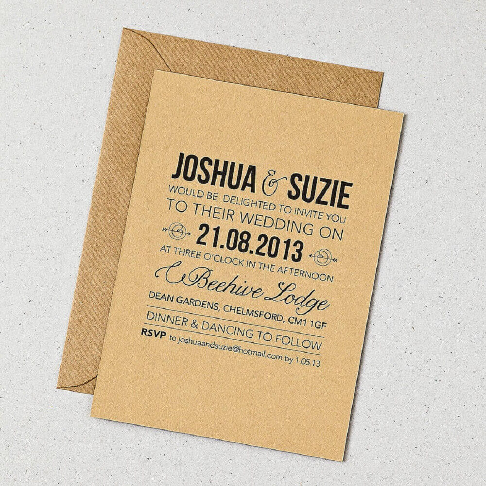 plain and simple wedding invitation