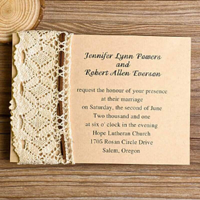 simple and inexpensive wedding invitation with lace detail on the side
