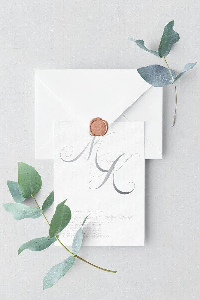 simple, minimalist wedding invitation