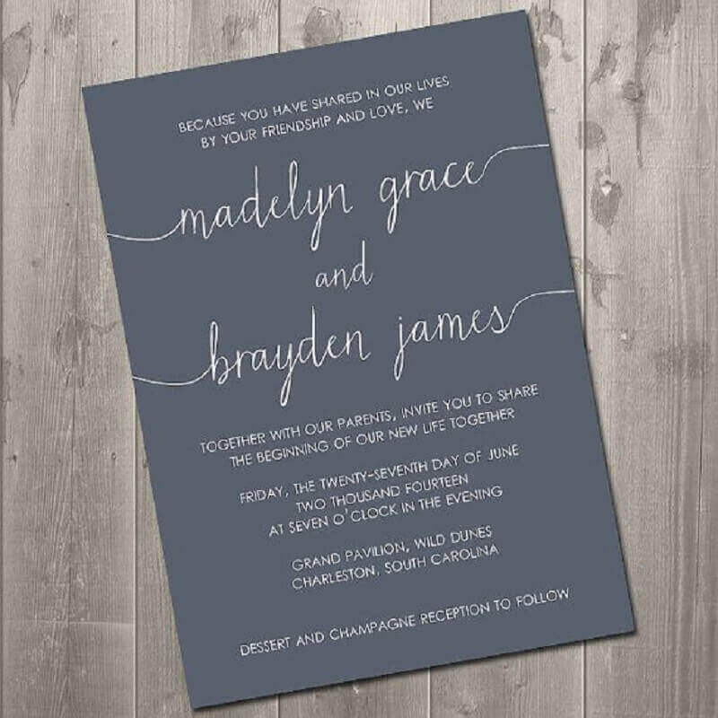simple and modern wedding invitation made on black paper