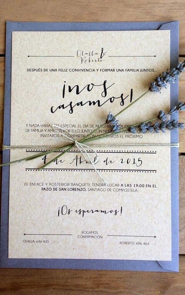 simple wedding invitation made with recyclable paper and small flower bouquet decorating