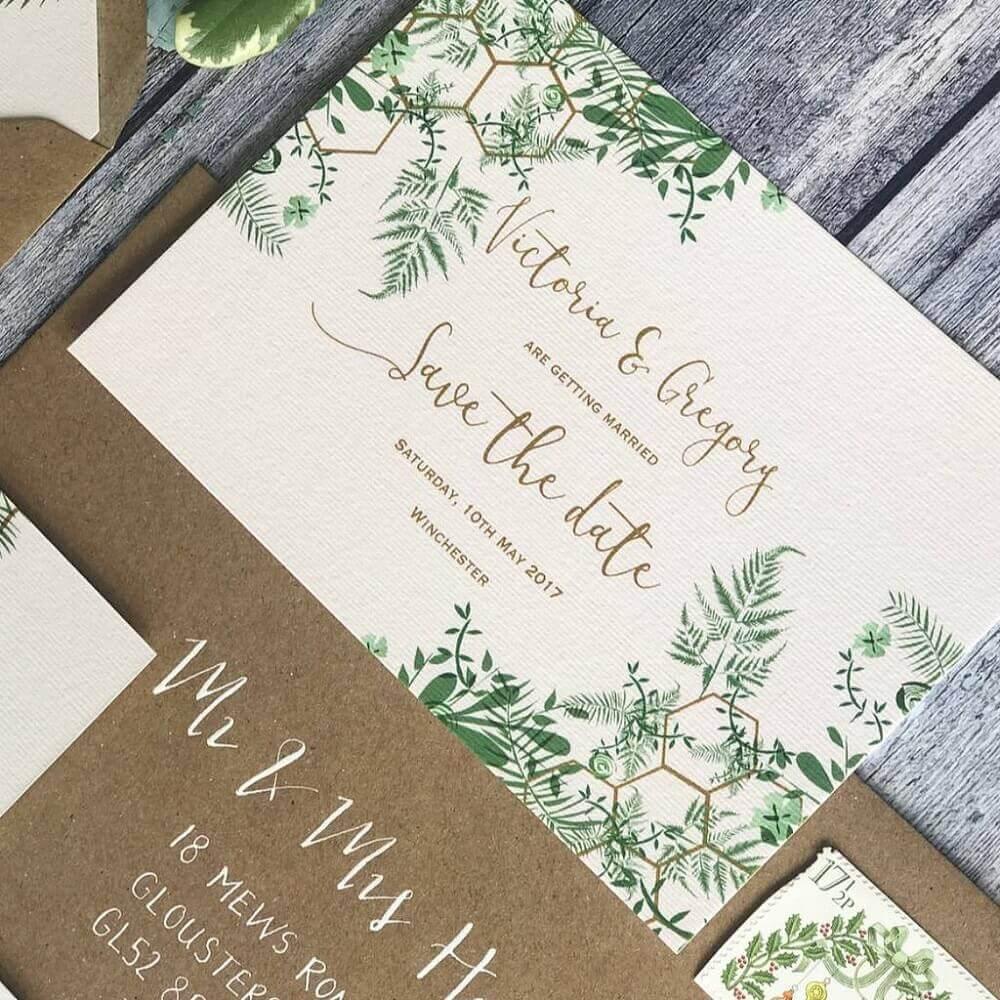 simple foliage wedding invitation