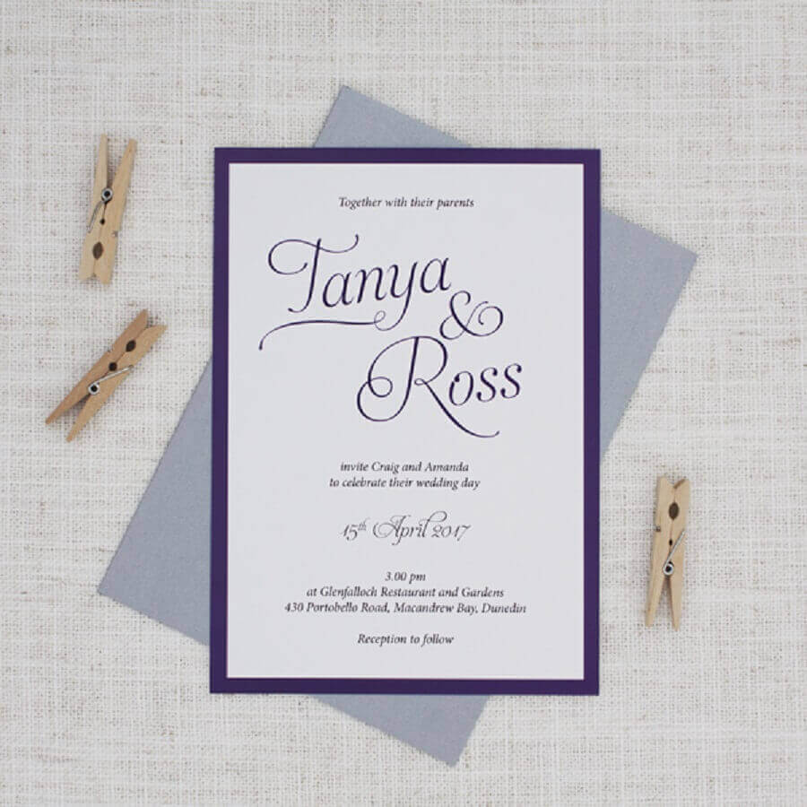 cheap and simple blue and white wedding invitations