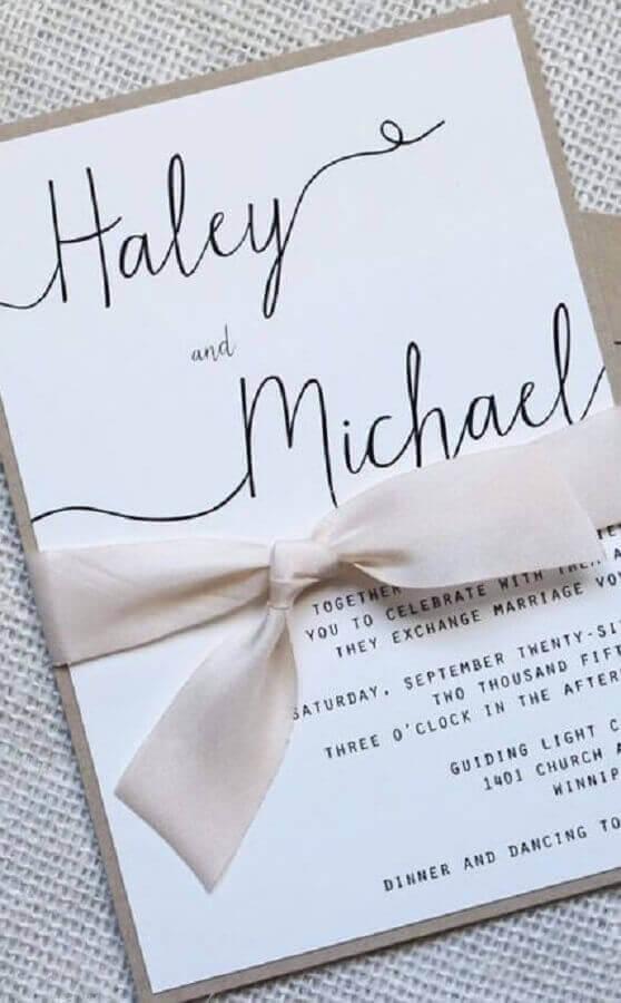 pink satin ribbon detail for simple wedding invitation