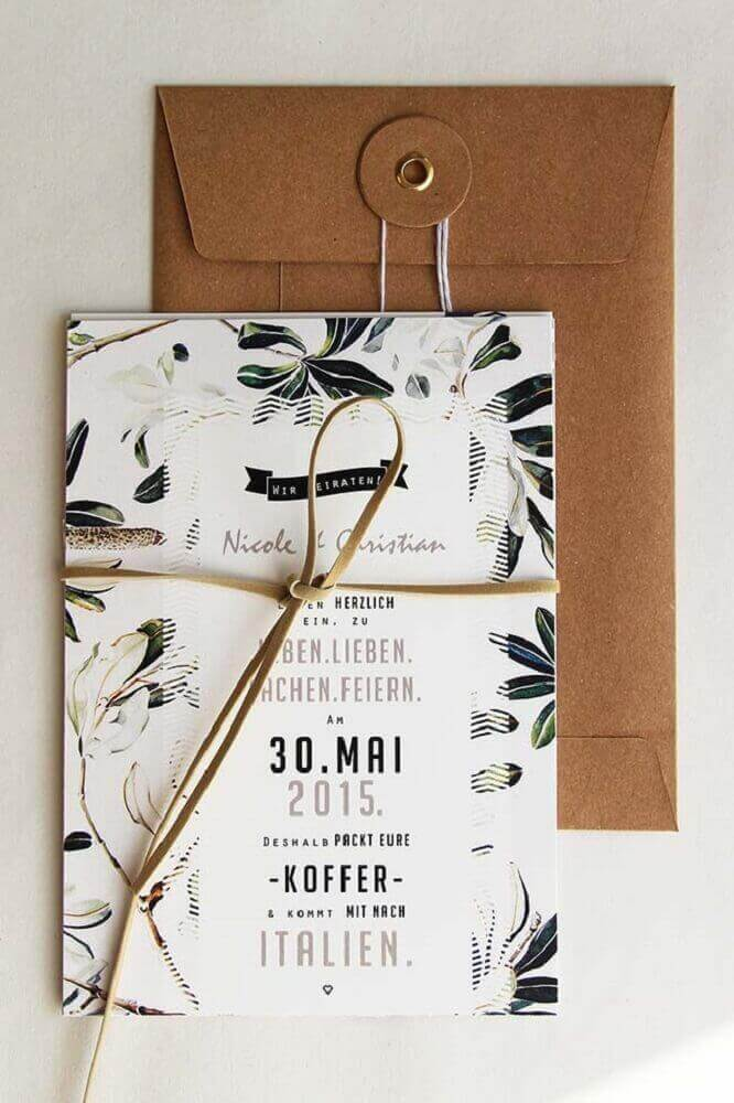 leather detail for simple wedding invitation