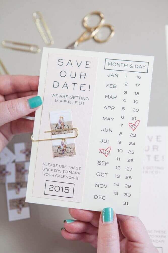 fun model of simple, modern wedding invitation
