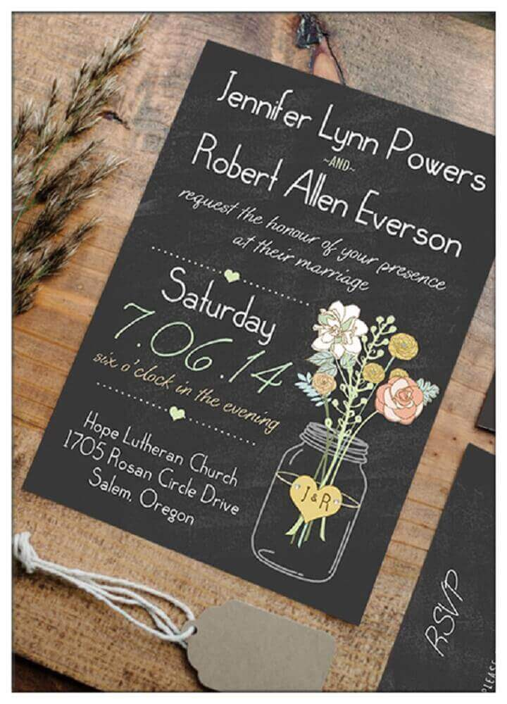 different model of simple wedding invitation made on black paper with fun details